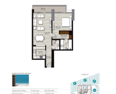 1 bedroom floorplan | Scandinavian Sun