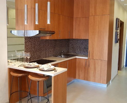 Kitchen in studio apartment in Dubai